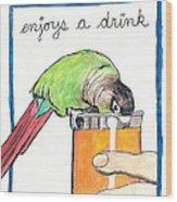 Dexter Enjoys A Drink Wood Print
