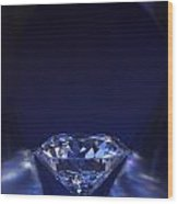 Diamond In Deep-blue Light Wood Print