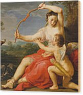 Diana And Cupid Wood Print