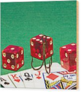 Dice Red Cards Hook 1 B Wood Print