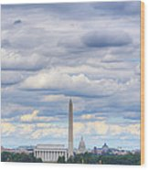 Digital Liquid - Clouds Over Washington Dc Wood Print by Metro DC Photography