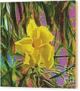 Digital Painting Of Yellow Orchid Wood Print
