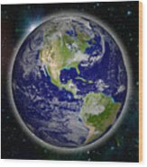 Digitally Generated Image Of Planet Earth Wood Print