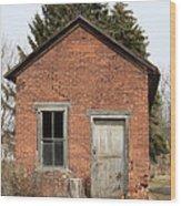 Dilapidated Old Brick Building Wood Print by John Stephens