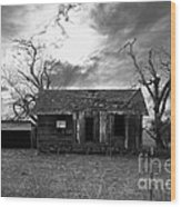 Dilapidated Old Farm House . 7d10341 . Black And White Wood Print by Wingsdomain Art and Photography
