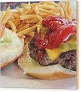 Diner Burger Wood Print