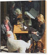 Dining Out With The Family Wood Print