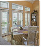 Dining Table In Kitchen Wood Print by Andersen Ross