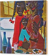 Dinner With Mom Wood Print