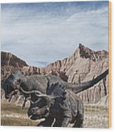 Dino's In The Badlands Wood Print