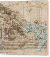 Dinosaur Battle Wood Print
