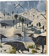 Dinosaurs Gather At A Life Saving Oasis Wood Print