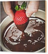 Dipping Strawberry In Chocolate Wood Print