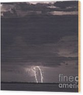 Distant Lightning  Wood Print