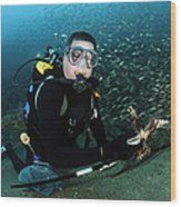 Diver Collects Invasive Lionfish Wood Print