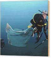 Diver Removes Invasive Indo-pacific Wood Print