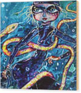 Diving With Serpent Wood Print