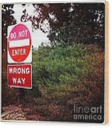 Do Not Enter - Wrong Way Wood Print