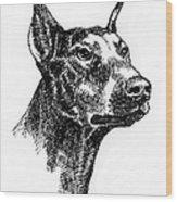 Doberman-pincher-portrait Wood Print