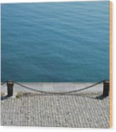 Dock Chain By Pavement Wood Print by Photography by Kévin Niglaut