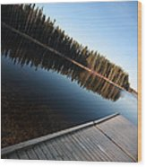 Dock On Northern Manitoba Lake Wood Print