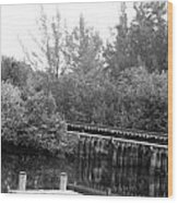 Dock On The River In Black And White Wood Print