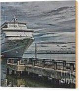 Docked Cruise Ship Three Wood Print