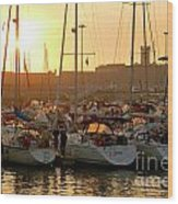 Docked Yachts Wood Print