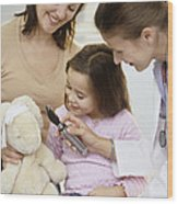 Doctor And Child Playing Wood Print