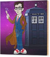 Doctor Who And Tardis Wood Print