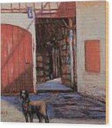Dog And Barn Wood Print