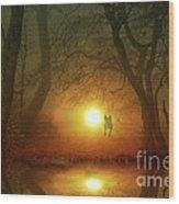 Dog At Sunset Wood Print by Bruno Santoro