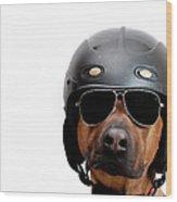 Dog Dressed As Police Man Wood Print