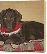 Dog With Christmas Collar Wood Print