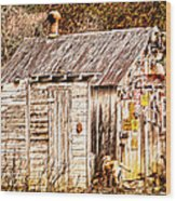 Dogs Back At The Cabin Wood Print