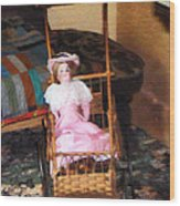 Doll In Carriage Wood Print
