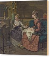 Domestic Scene With Two Girls, One Wood Print