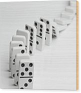 Dominoes Falling Over In A Chain Reaction Wood Print