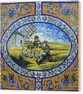 Don Quixote In Spanish Tile Wood Print