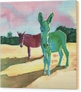 Donkeys With An Attitude Wood Print