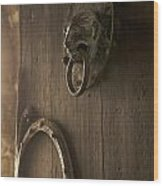 Door Knocker Of The Basilica Saint-julien. Brioude. Haute Loire. Auvergne. France. Wood Print