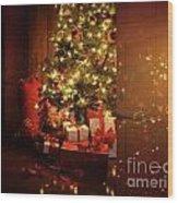 Door Opening Onto Nostalgic Christmas Scene   Wood Print