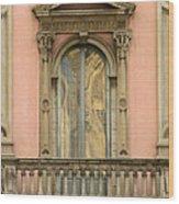 Doors Balcony And Duomo Reflection In Milan Italy Wood Print