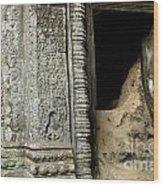 Doorway Ankor Wat Wood Print