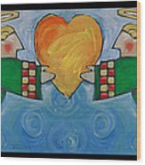 Double Angels With Heart Wood Print