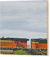 Double Bnsf Engines Wood Print