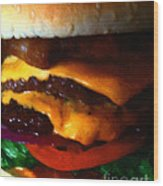 Double Cheeseburger With Bacon - Painterly Wood Print