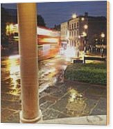 Double Decker Blur In The Rain Wood Print