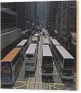 Double Decker Buses In The Streets Wood Print