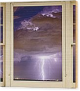Double Lightning Strike Picture Window Wood Print